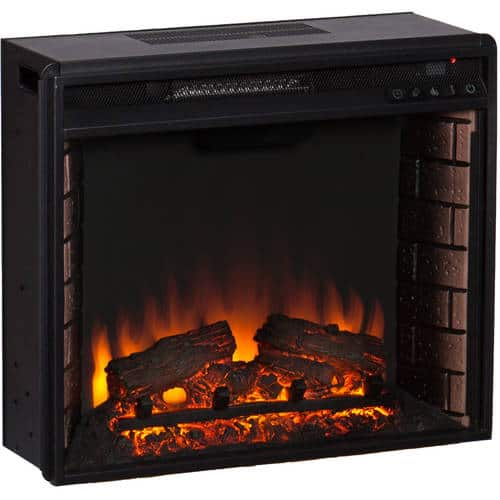 Southern Enterprises Barkley Convertible/ Corner Electric Fireplace with Faux Slate, Mission Oak 7