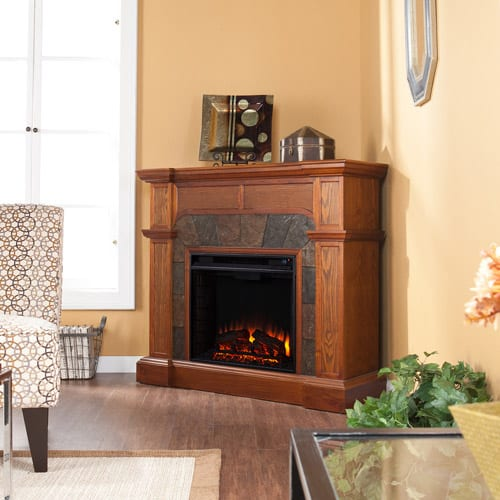 Southern Enterprises Barkley Convertible/ Corner Electric Fireplace with Faux Slate