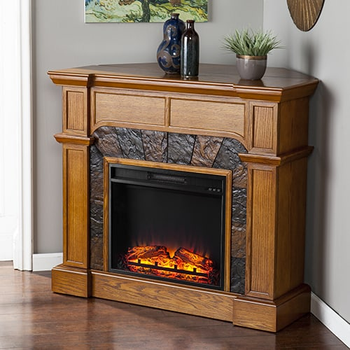 Southern Enterprises Barkley II Convertible Corner Electric Fireplace