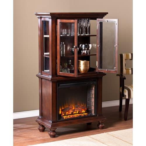 Southern Enterprises Bryer Electric Fireplace Curio Console, Espresso 1
