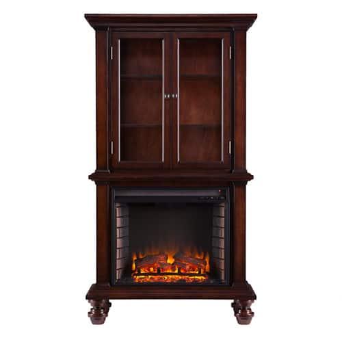 Southern Enterprises Bryer Electric Fireplace Curio Console, Espresso 2