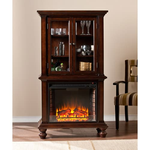 Southern Enterprises Bryer Electric Fireplace Curio Console