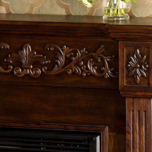 Southern Enterprises Calvert Carved Electric Fireplace 6