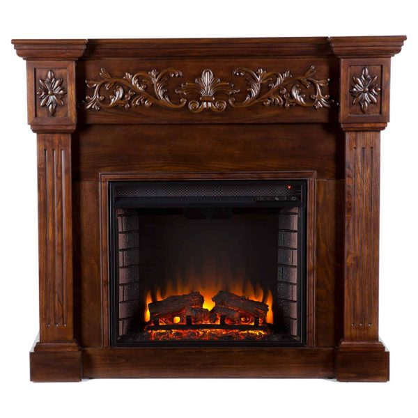 Southern Enterprises Calvert Carved Electric Fireplace 7
