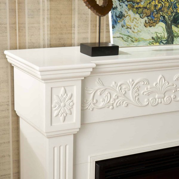 Southern Enterprises Calvert Carved Ivory Gel Fireplace-Color:Ivory,Type:Electric 2