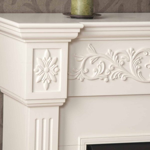Southern Enterprises Calvert Carved Ivory Gel Fireplace-Color:Ivory,Type:Electric 3