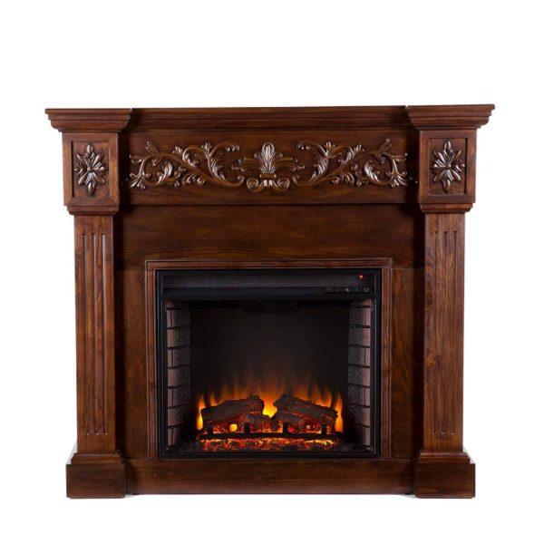 Southern Enterprises Calvert Carved Ivory Gel Fireplace-Color:Ivory