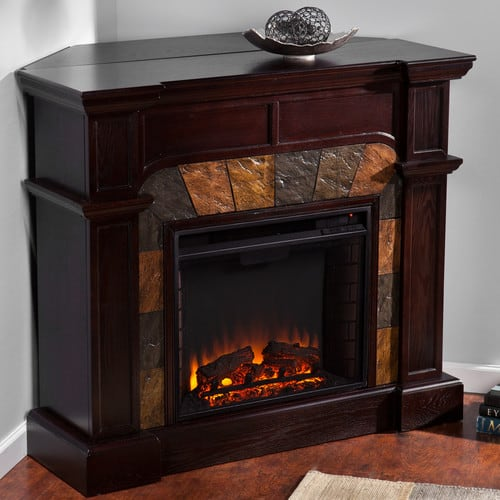 Southern Enterprises Cartwright Mission Oak Convertible Slate Electric Fireplace 1
