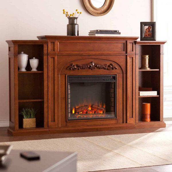 Southern Enterprises Chantilly Bookcase Electric Fireplace 1