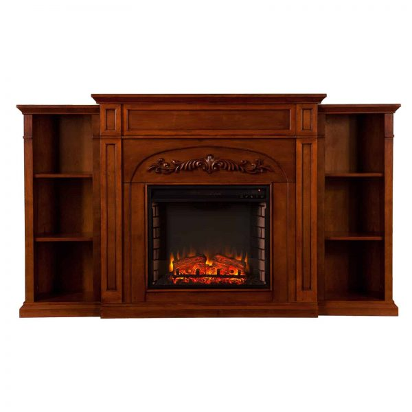 Southern Enterprises Chantilly Bookcase Electric Fireplace 5