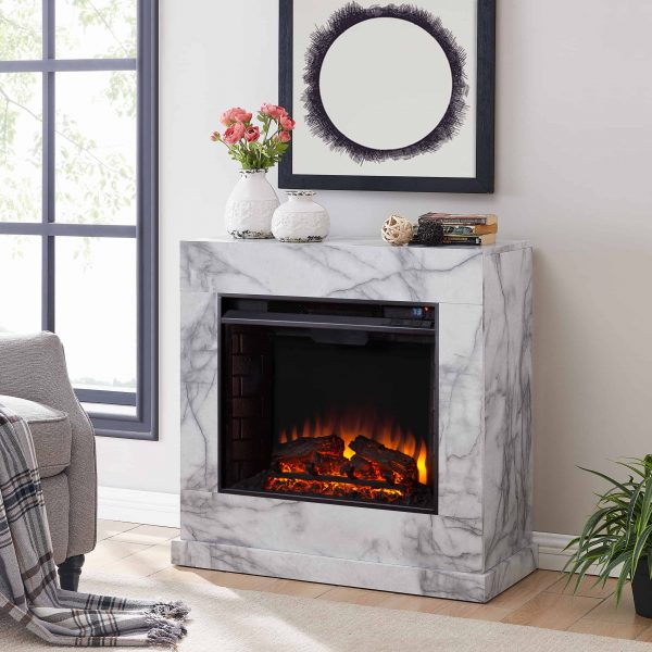 Southern Enterprises Claredale Electric Fireplace with Marble Top 1
