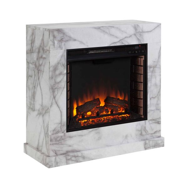 Southern Enterprises Claredale Electric Fireplace with Marble Top 12