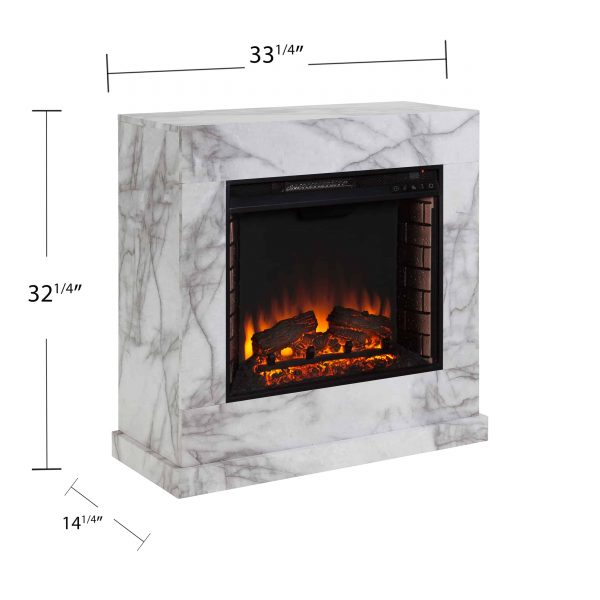 Southern Enterprises Claredale Electric Fireplace with Marble Top 3