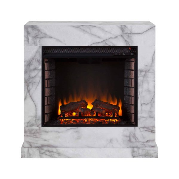 Southern Enterprises Claredale Electric Fireplace with Marble Top 4