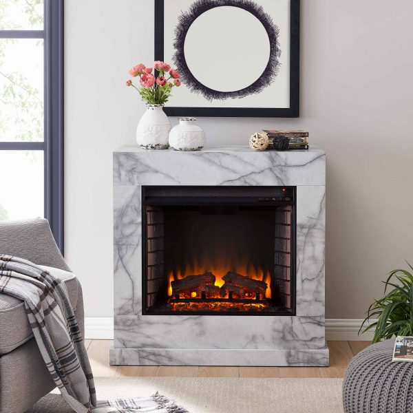 Southern Enterprises Claredale Electric Fireplace with Marble Top