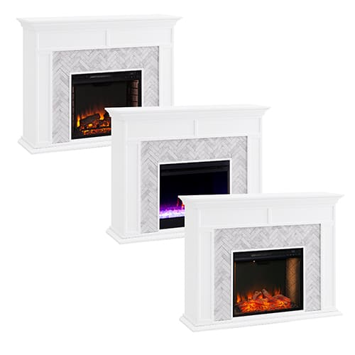 Southern Enterprises Color Changing Marble Tiled Fireplace 10
