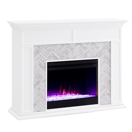 Southern Enterprises Color Changing Marble Tiled Fireplace 2
