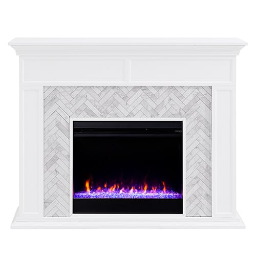 Southern Enterprises Color Changing Marble Tiled Fireplace 4