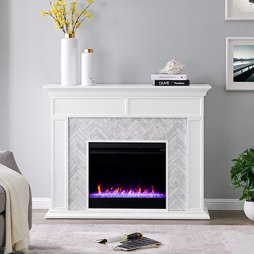 Southern Enterprises Color Changing Marble Tiled Fireplace 5
