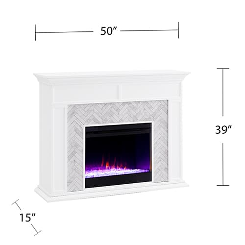 Southern Enterprises Color Changing Marble Tiled Fireplace 8