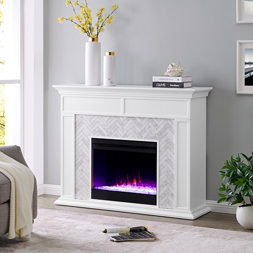 Southern Enterprises Color Changing Marble Tiled Fireplace