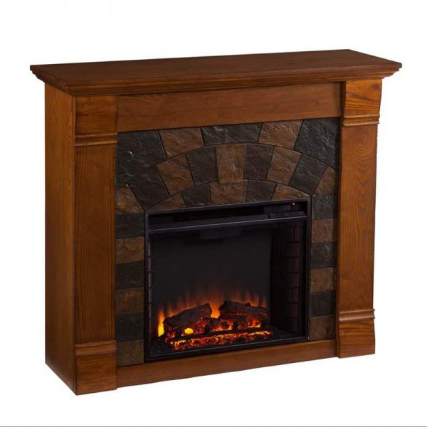 Southern Enterprises Elkmont Electric Fireplace in Salem Antique Oak 1