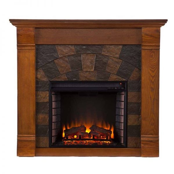 Southern Enterprises Elkmont Electric Fireplace in Salem Antique Oak 2