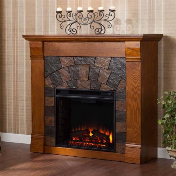 Southern Enterprises Elkmont Electric Fireplace in Salem Antique Oak