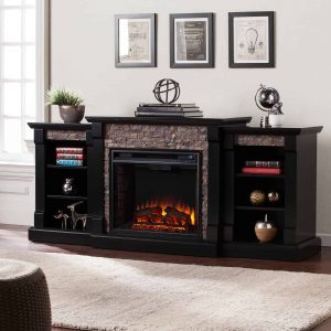 Southern Enterprises Gallatin Electric Fireplace with Bookcase