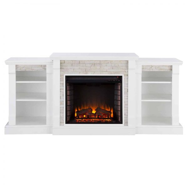 Southern Enterprises Gallatin Electric Fireplace with Bookcases 1