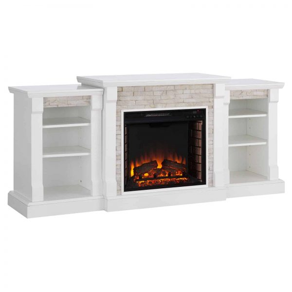 Southern Enterprises Gallatin Electric Fireplace with Bookcases 4