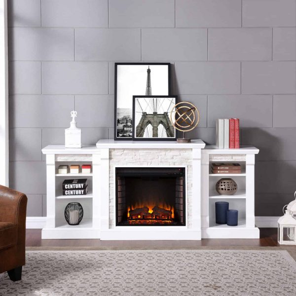 Southern Enterprises Gallatin Electric Fireplace with Bookcases