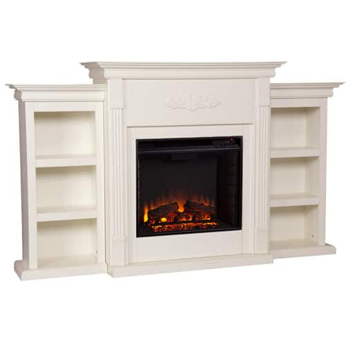Southern Enterprises Griffin Electric Fireplace with Bookcases, Ivory 1