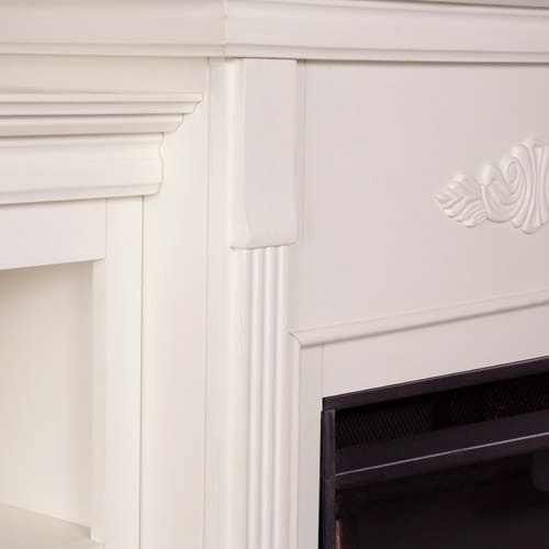 Southern Enterprises Griffin Electric Fireplace with Bookcases, Ivory 2