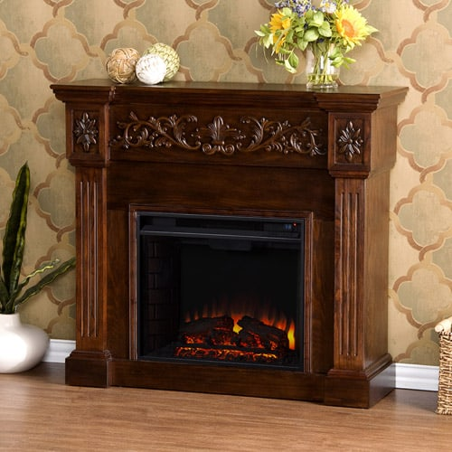 Southern Enterprises Jordan Electric Fireplace, Espresso 1