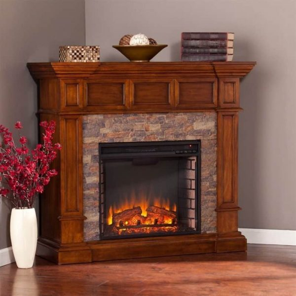 Southern Enterprises Merrimack Faux Stone Electric Fireplace in Oak 1