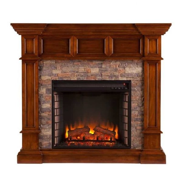 Southern Enterprises Merrimack Faux Stone Electric Fireplace in Oak 2