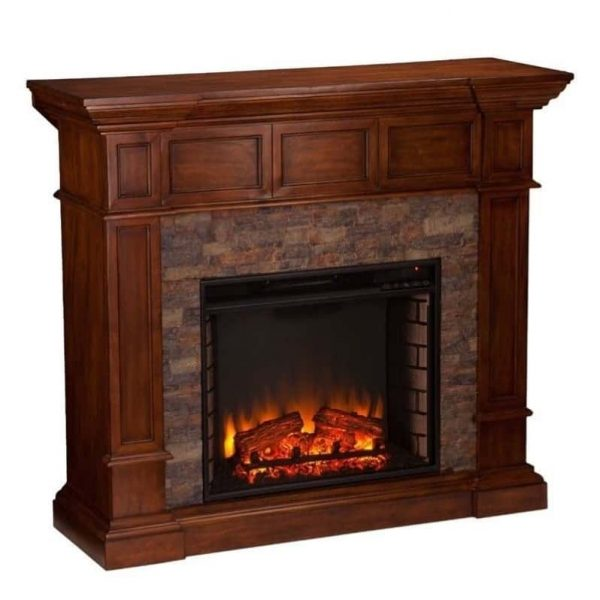 Southern Enterprises Merrimack Faux Stone Electric Fireplace in Oak 3