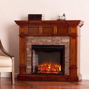 Southern Enterprises Merrimack Faux Stone Electric Fireplace in Oak