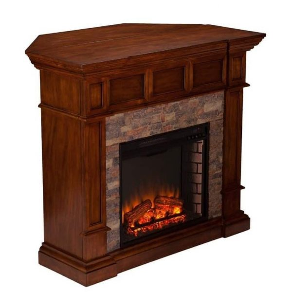 Southern Enterprises Merrimack Faux Stone Electric Fireplace in Oak 4