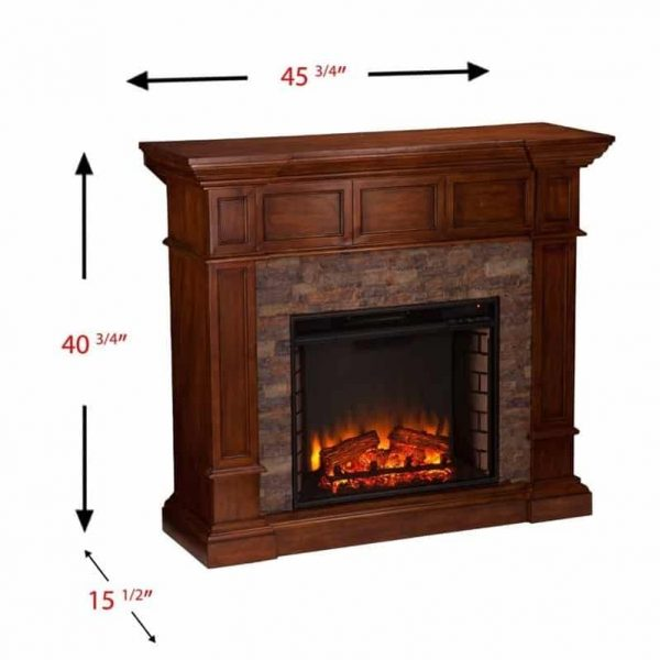 Southern Enterprises Merrimack Faux Stone Electric Fireplace in Oak 7