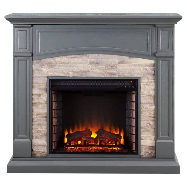 Southern Enterprises Seneca Electric Fireplace - Gray 2