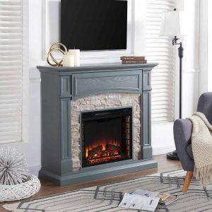 Southern Enterprises Seneca Electric Fireplace - Gray