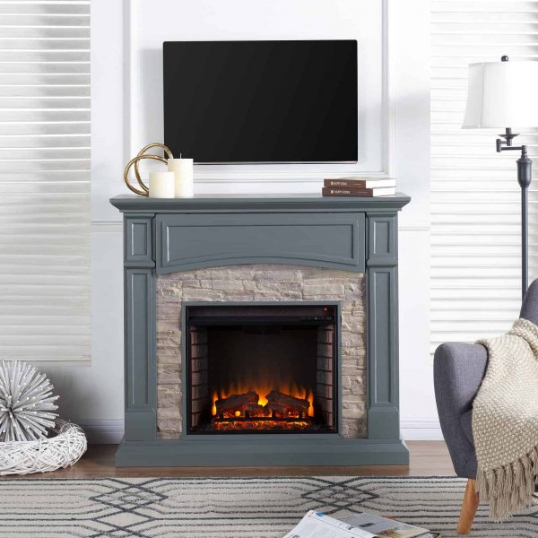 Southern Enterprises Seneca Electric Fireplace - Gray 5