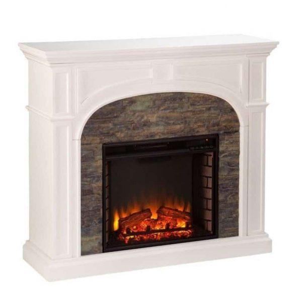 Southern Enterprises Tanaya Faux Stone Electric Fireplace in White 1