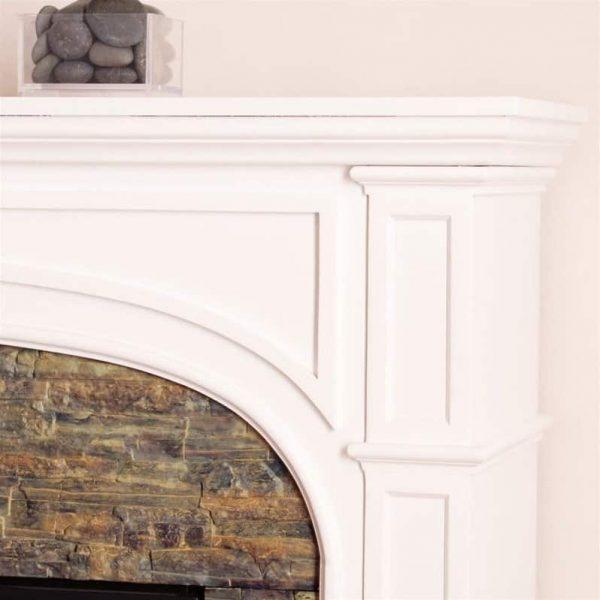 Southern Enterprises Tanaya Faux Stone Electric Fireplace in White 3