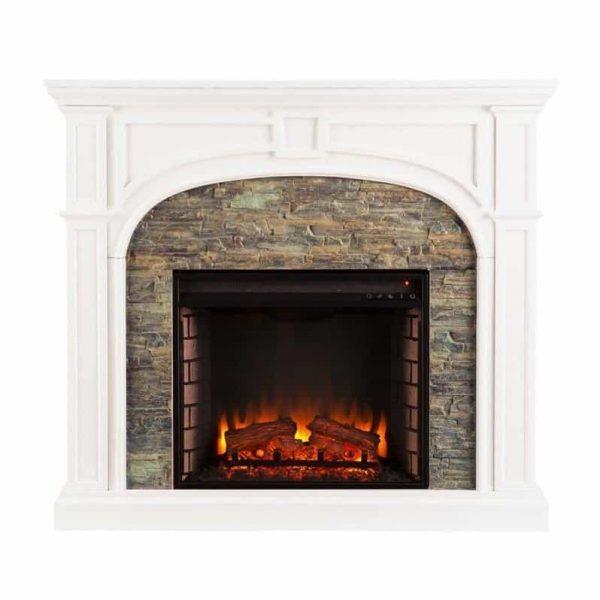 Southern Enterprises Tanaya Faux Stone Electric Fireplace in White 4