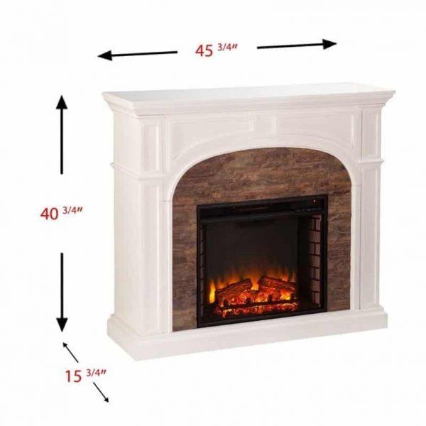 Southern Enterprises Tanaya Faux Stone Electric Fireplace in White 5