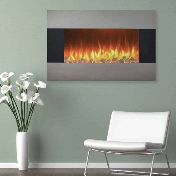 Stainless Steel Electric Fireplace with Wall Mount and Floor Stand And Remote