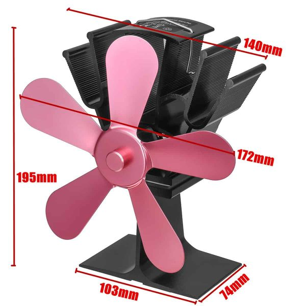Stove Fan 5 Blades Fuel Saving Heat Powered For Wood Burner Fireplace Eco 1